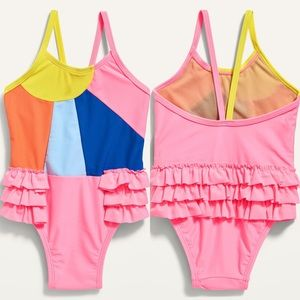 Old Navy Ruffle-Trim Color-Blocked Swimsuit